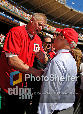 23 September 2007: Former Washington Senators third baseman Frank Howard (left) shakes hands with Washington Nationals Owner Mark Lerner prior to the very last professional baseball game played against the Philadelphia Phillies at Robert F. Kennedy Memorial Stadium in Washington, DC. The Nationals defeated the visiting Phillies 5-3 to close out the 2007 home season. The Nationals will open up the 2008 season at Nationals Park, their new facility currently under construction.. .Mandatory Photo Credit: Ed Wolfstein Photo