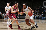 28 January 2016: Wake Forest's Ataijah Taylor (3) and Florida State's Leticia Romero (ESP) (10). The Wake Forest University Demon Deacons hosted the Florida State University Seminoles at Lawrence Joel Veterans Memorial Coliseum in Winston-Salem, North Carolina in a 2015-16 NCAA Division I Women's Basketball game. Florida State won the game 96-55.