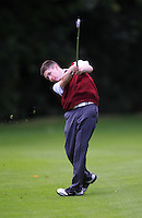 John Molyeaux Jr (Ballybunion) on the 18th during the Junior Cup for the AIG Cups & Shields Finals in Royal Tara Golf Club on Thursday 19th September 2013.<br /> Picture:  Thos Caffrey / www.golffile.ie