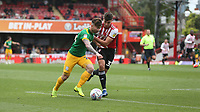 Preston North End's Sean Maguire and Brentford's Luka Racic<br /> <br /> Photographer Rob Newell/CameraSport<br /> <br /> The EFL Sky Bet Championship - Brentford v Preston North End - Sunday 5th May 2019 - Griffin Park - Brentford<br /> <br /> World Copyright © 2019 CameraSport. All rights reserved. 43 Linden Ave. Countesthorpe. Leicester. England. LE8 5PG - Tel: +44 (0) 116 277 4147 - admin@camerasport.com - www.camerasport.com