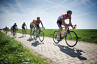 Stig Broeckx (BEL/Lotto-Soudal) over sector 26: Viesly &agrave; Qui&eacute;vy (1.8km)<br /> <br /> 113th Paris-Roubaix 2015