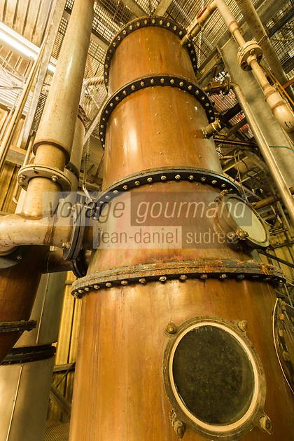 France, île de la Réunion, côte nord est, Saint André, colonne de distillation  rhum de la distillerie Savanna // France, Ile de la Reunion (French overseas department), north east coast, Saint Andre, rhum cellar of Savanna distillery