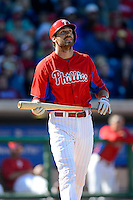 Philadelphia Phillies outfielder Joe Mather #22 during a Spring Training game against the Washington Nationals at Bright House Field on March 6, 2013 in Clearwater, Florida.  Philadelphia defeated Washington 6-3.  (Mike Janes/Four Seam Images)