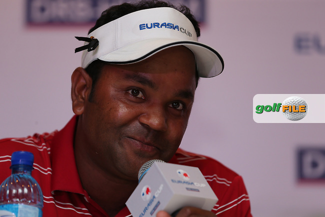 Team Asia's Siddikur Rahman (BANG) gained a full point alongside Team Asia's Anirban Lahiri (IND) during the second day Foursome matches at the 2014 EurAsia Cup presented by DRB-Hicom, at the Glenmarie Golf & Country Club, Kuala Lumpur, Malaysia. Picture:  David Lloyd / www.golffile.ie