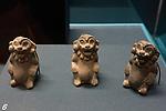 Small ceramic monkeys from the ruins of the Zapotec city of Atzompa in the Museo Comunitario Santa Maria Atzompa, Oaxaca, Mexico.