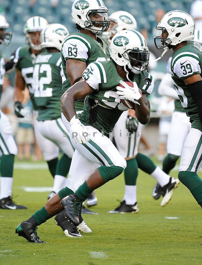 JOE MCKNIGHT (25) of the New York Jets, in action during the Jets preseason game against the Philadelphia Eagles on August 30, 2012 at Lincoln Financial Field in Philadelphia, PA. The Eagles beat the Jets 28-10.