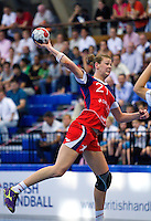 30 MAY 2012 - LONDON, GBR - Kathryn Fudge (GBR) of Great Britain shoots during the women's 2012 European Handball Championship qualification match against Montenegro at the National Sports Centre in Crystal Palace, Great Britain (PHOTO (C) 2012 NIGEL FARROW)