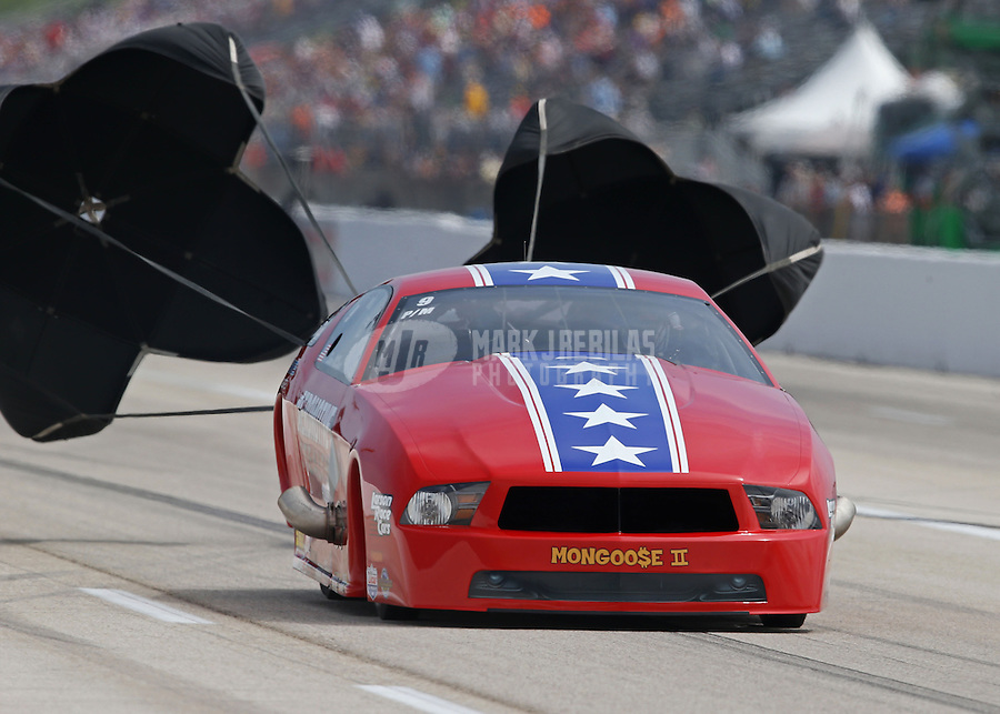 Apr. 26, 2013; Baytown, TX, USA: NHRA pro mod driver Steve Matusak during qualifying for the Spring Nationals at Royal Purple Raceway. Mandatory Credit: Mark J. Rebilas-