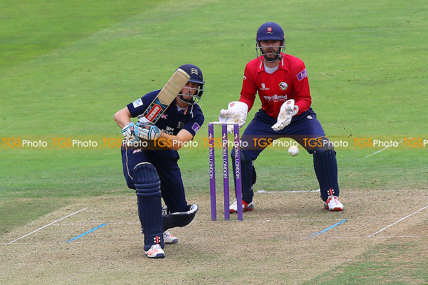 John Simpson in batting action for Middlesex as James Foster looks on from behind the stumps during Middlesex vs Essex Eagles, Royal London One-Day Cup Cricket at Lord's Cricket Ground on 31st July 2016