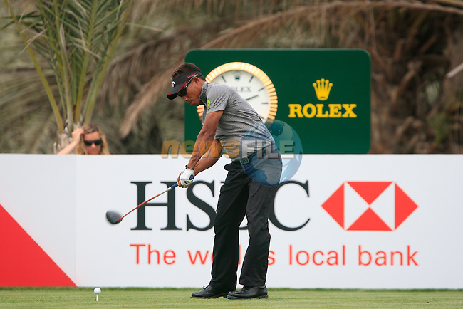 Thongchai Jaidee tees off on the 14th tee during Thusday Day 1 of the Abu Dhabi HSBC Golf Championship, 20th January 2011..(Picture Eoin Clarke/www.golffile.ie)