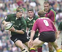 10/04/2002 - Powergen National Cup Final - Twickenham.London Irish vs Northampton..Michael Horak, look's to pass Matt Dawson.