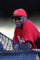 Cincinnati Reds Manager Dusty Baker #12 before a game against the Los Angeles Dodgers at Dodger Stadium on July 3, 2012 in Los Angeles, California. Los Angeles defeated Cincinnati 3-1. (Larry Goren/Four Seam Images)