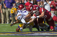 NWA Democrat-Gazette/BEN GOFF @NWABENGOFF<br /> DJ Chark (from left), LSU wide receiver, dives for the ball after fumbling a kickoff return as Reid Miller, Robert Decker and Ryder Lucas of Arkansas try to recover the ball in the first quarter Saturday, Nov. 11, 2017 at Tiger Stadium in Baton Rouge, La.