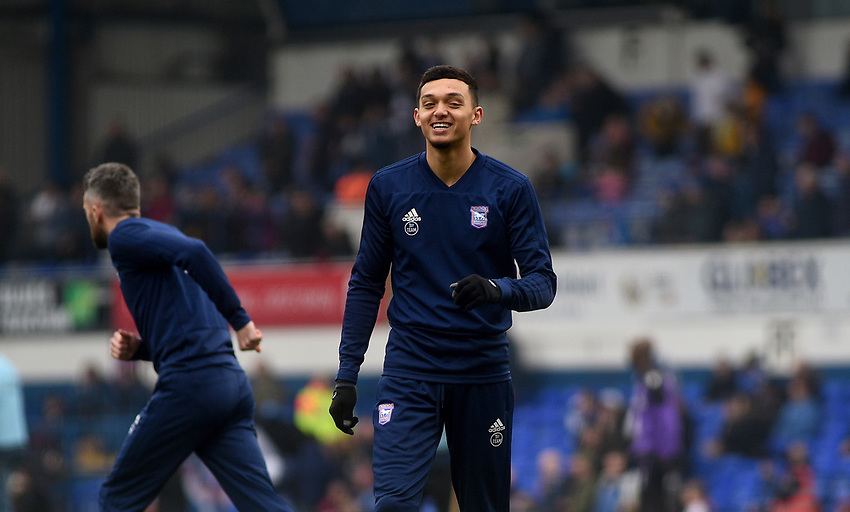 Ipswich Town's Andre Dozzell during the pre-match warm-up <br /> <br /> Photographer Hannah Fountain/CameraSport<br /> <br /> The EFL Sky Bet Championship - Ipswich Town v Stoke City - Saturday 16th February 2019 - Portman Road - Ipswich<br /> <br /> World Copyright © 2019 CameraSport. All rights reserved. 43 Linden Ave. Countesthorpe. Leicester. England. LE8 5PG - Tel: +44 (0) 116 277 4147 - admin@camerasport.com - www.camerasport.com
