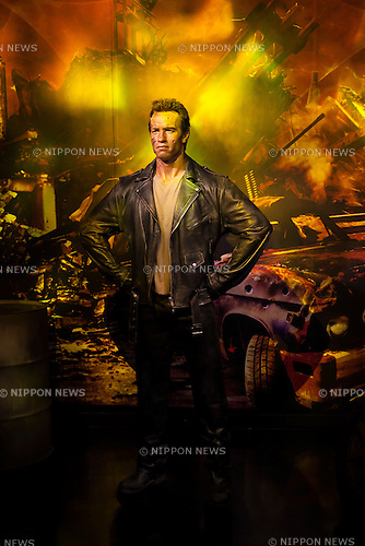 A wax figure of Arnold Schwarzenegger, actor and politician on display at the Madame Tussauds Tokyo wax museum in Odaiba, Tokyo, June 15, 2015. The world famous British wax museum ''Madame Tussauds'' opened its 14th permanent branch in Tokyo in 2013 and exhibits international and local celebrities, sports players and politicians. New additions to the collection include wax figures of the Japanese figure skater Yuzuru Hanyu and the actor Benedict Cumberbatch. The wax figure of Benedict Cumberbatch will be exhibited until June 30th. (Photo by Rodrigo Reyes Marin/AFLO)