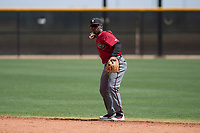 Arizona Diamondbacks second baseman Keshawn Lynch (7) prepares to make a throw to first base during an Extended Spring Training game against the Cleveland Indians at the Cleveland Indians Training Complex on May 27, 2018 in Goodyear, Arizona. (Zachary Lucy/Four Seam Images)
