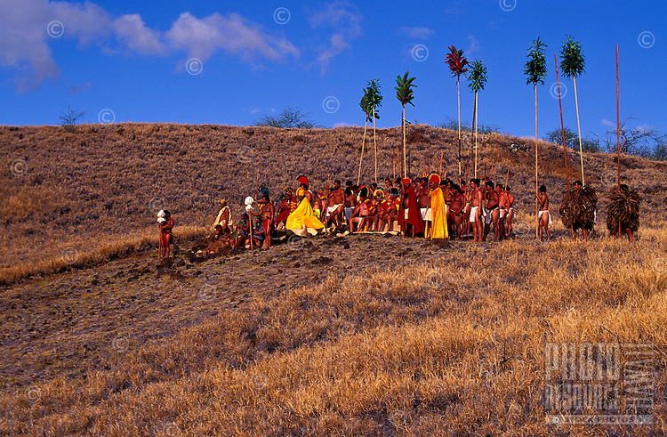 Hawaiian Royalty seated with warriors surrounding them at Puukohola Heiau, a national historic site, during a healing unification ceremony commemorating the 200th anniversary of its construction, South Kohala