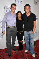 "PAUL J. ALESSI, producer/actor, DANIELLE NICOLET & ROSS McCALL .""Knuckle Draggers"" Premiere at the 2009 Newport Beach Film Festival held at Edwards Cinemas, Newport Beach, CA, USA..April 27th, 2009.full length black top purple shirt dress jeans denim grey gray trousers .CAP/ADM/BP.©Byron Purvis/AdMedia/Capital Pictures."