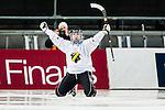 Solna 2014-03-15 Bandy SM-final Damer Kareby IS - AIK  :  <br /> AIK:s Matilda Svenler jublar efter att ha kvitterat till 1-1<br /> (Foto: Kenta J&ouml;nsson) Nyckelord:  SM SM-final final dam damer Kareby AIK jubel gl&auml;dje lycka glad happy