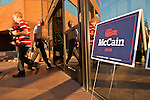 Aug. 23, PHOENIX, AZ: People walk into the Phoenix, AZ, campaign offices of Sen. John McCain. US Sen. John McCain held the final of his primary election campaign at his campaign offices in Phoenix Monday. McCain, Arizona's senior Republican US Senator, is facing former Congressman JD Hayworth in the primary, Tuesday, Aug. 24. McCain has outspent Hayworth by a considerable margin and is expected to win.   Photo by Jack Kurtz