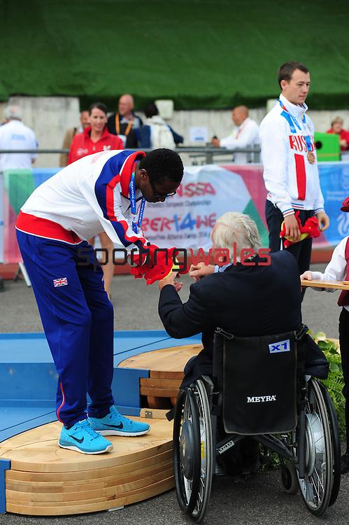 IPC European Athletics Championship 2014<br /> Swansea University<br /> <br /> Medal ceremony: Men's 100m T47.<br /> <br /> 21.08.14<br /> Chris Vaughan-SPORTINGWALES
