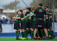 South Canterbury celebrate winning the 2019 Hatch Cup Under-13 Boys' Hockey Tournament semifinal between Canterbury and South Canterbury at Fitzherbert Park Twin Turfs in Palmerston North, New Zealand on Friday, 11 October 2019. Photo: Dave Lintott / lintottphoto.co.nz