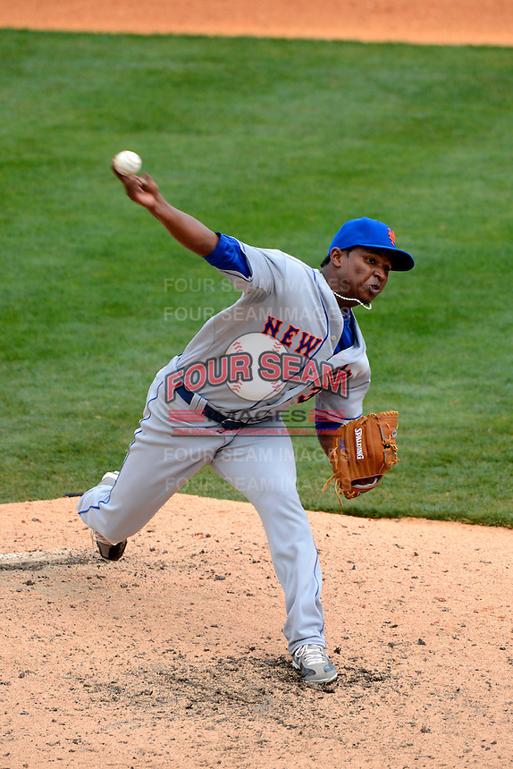 New York Mets pitcher Jenrry Mejia #32 during a Spring Training game against the Detroit Tigers at Joker Marchant Stadium on March 11, 2013 in Lakeland, Florida.  New York defeated Detroit 11-0.  (Mike Janes/Four Seam Images)