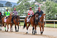 HOT SPRINGS, AR - APRIL 13:  Apple Blossom Handicap at Oaklawn Park on April 13, 2018 in Hot Springs,Arkansas.  #2  Unbridled Mo with jockey Ricardo Santana, Jr. and #3 Fuhriously Kissed with jockey C.J. McMahon. (Photo by Ted McClenning/Eclipse Sportswire/Getty Images)