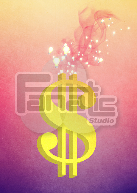 Illustrative image of bulbs coming out of dollar sign representing innovation
