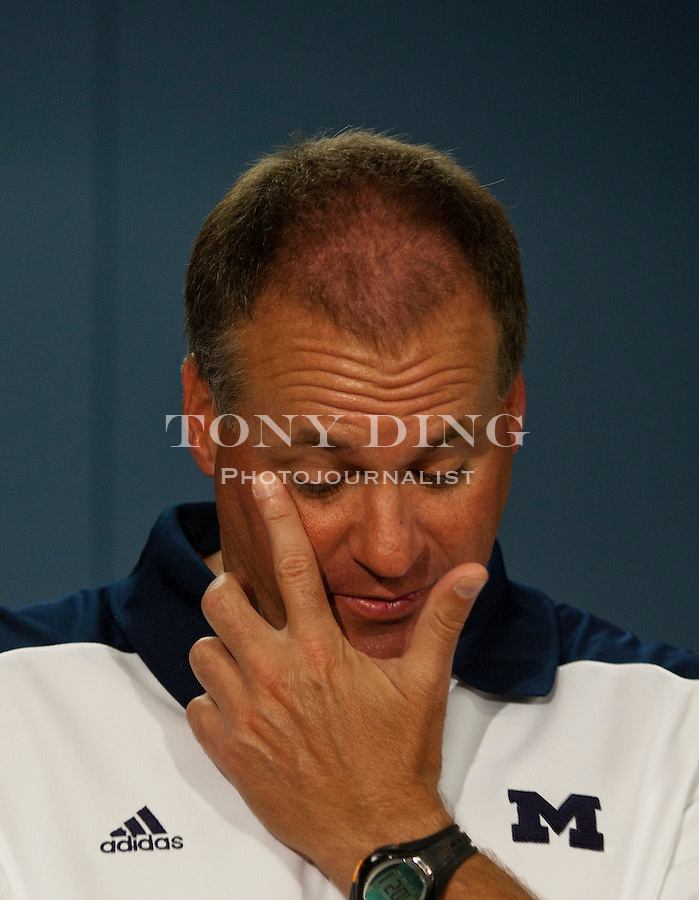 Michigan head coach Rich Rodriguez during his press conference at the annual NCAA college football media day, Sunday, Aug. 22, 2010, in Ann Arbor, Mich. (AP Photo/Tony Ding)