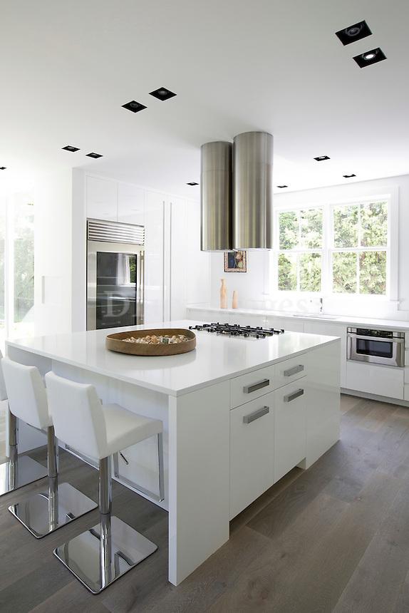 Modern white kitchen island