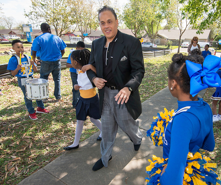 Dr. John E. Codwell III arrives for a groundbreaking ceremony at Codwell Elementary School, March 3, 2017.