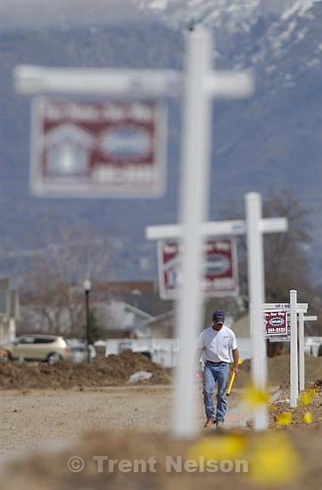 real estate for sale signs at new suburban development. Davis County project. 04/06/2005<br />