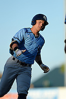 Charlotte Stone Crabs first baseman Jake Bauers (23) runs the bases after hitting a home run during a game against the Bradenton Marauders on April 22, 2015 at McKechnie Field in Bradenton, Florida.  Bradenton defeated Charlotte 7-6.  (Mike Janes/Four Seam Images)