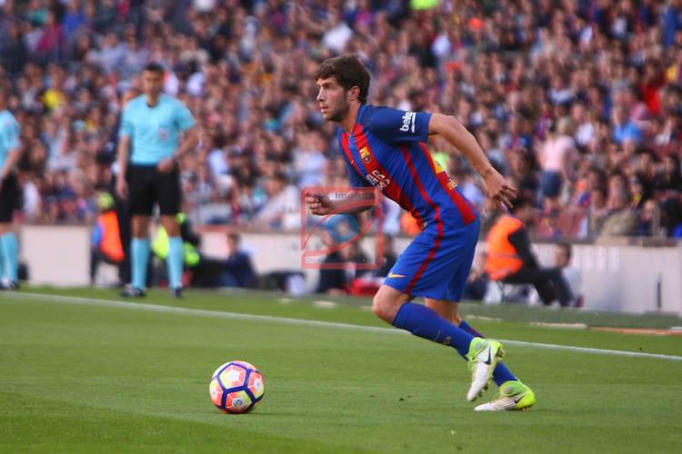 League Santander 2016/2017. Game: 36.<br /> FC Barcelona vs Villarreal CF: 4-1.<br /> Sergi Roberto.