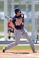 Minnesota Twins outfielder Michael Kvasnicka #9 during a minor league Spring Training game against the Boston Red Sox at JetBlue Park Training Complex on March 27, 2013 in Fort Myers, Florida.  (Mike Janes/Four Seam Images)