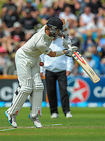 Kane Williamson is hit in the groin during day one of the 2nd cricket test match between the New Zealand Black Caps and Sri Lanka at the Hawkins Basin Reserve, Wellington, New Zealand on Saturday, 3 February 2015. Photo: Dave Lintott / lintottphoto.co.nz