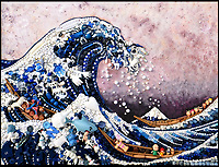 BNPS.co.uk (01202 558833)<br /> Pic: Bluebowerbird/BNPS<br /> <br /> Japanese master Hokusai's famous 'Great Wave'<br /> <br /> PopArt - Artist Jane Perkins recreates famous people and paintings from recycled plastic rubbish.<br /> <br /> Her stunning 'Plastic Classics' generate the most interest and sell for thousands of pounds.<br /> <br /> She has created rubbish replica's of famous paiintings by Van Gogh's, Monet, Raphael, Gustav Klimt, Salvi and Frida Kahlo as well as Japanese artist Katsushika Hokusai's the Great Wave of Kanagawa.<br /> <br /> She also creates pictures of animals for private commissions. For example, a stunning work of a tiger's head is made up of objects like plastic toy animals, golf tees and beads.<br /> <br /> Jane, a former hospital nurse from Kenton, near Exeter, Devon, now sells her work for up to &pound;2,500 a go.<br /> <br /> She said: &quot;I go to car boot sales and buy anything that is plastic, mostly toys and bits of broken jewellery, anything small. The neighbours often give me bags of bits and pieces they no longer want. <br /> <br /> &quot;People love them because they can see the whole image but also see what is in it. They can find things in them that they recognise, like little bits from their childhood.
