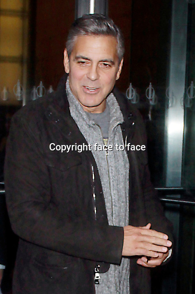 George Clooney at SiriusXM studios promoting his new film, The Monuments Men on February 5, 2014 in New York City.<br /> Credit: MediaPunch/face to face<br /> - Germany, Austria, Switzerland, Eastern Europe, Australia, UK, USA, Taiwan, Singapore, China, Malaysia, Thailand, Sweden, Estonia, Latvia and Lithuania rights only -