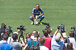 Presentation at the Santiago Bernabeu Stadium Real Madrid's new goalkeeper Keylor Navas, along with his wife and daughter. 08/05/2014. DP / Photocall3000