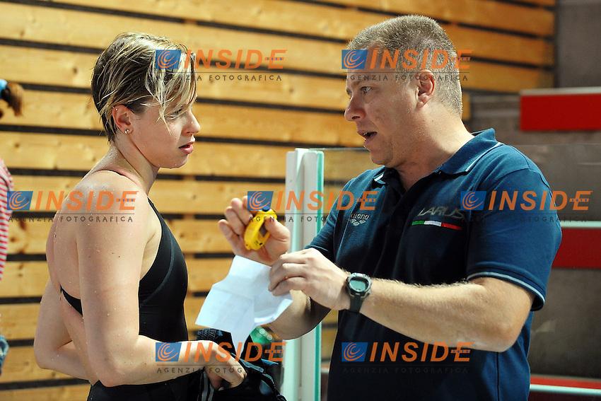 Federica Pellegrini con l'allenatore Claudio Rossetto.Riccione 06/03/2012 .Nuoto Campionati Italiani primaverili.Foto Insidefoto Andrea Staccioli