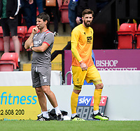 Lincoln City manager Danny Cowley, left, and Lincoln City's Josh Vickers<br /> <br /> Photographer Chris Vaughan/CameraSport<br /> <br /> Football Pre-Season Friendly - Lincoln City v Sheffield Wednesday - Saturday July 13th 2019 - Sincil Bank - Lincoln<br /> <br /> World Copyright © 2019 CameraSport. All rights reserved. 43 Linden Ave. Countesthorpe. Leicester. England. LE8 5PG - Tel: +44 (0) 116 277 4147 - admin@camerasport.com - www.camerasport.com