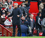 Jose Mourinho manager of Manchester United celebrates the winning goal with Arsene Wenger manager of Arsenal in the background during the premier league match at the Old Trafford Stadium, Manchester. Picture date 29th April 2018. Picture credit should read: Simon Bellis/Sportimage