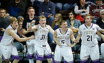 SIOUX FALLS, SD - MARCH 9:  Players on the College of Idaho bench celebrate after they take the lead in the final seconds of their game against Dakota Wesleyan at the 2018 NAIA DII Men's Basketball Championship at the Sanford Pentagon in Sioux Falls. (Photo by Dick Carlson/Inertia)
