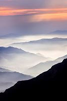 Layers of hills at sunset. Sequoia National Park, CA