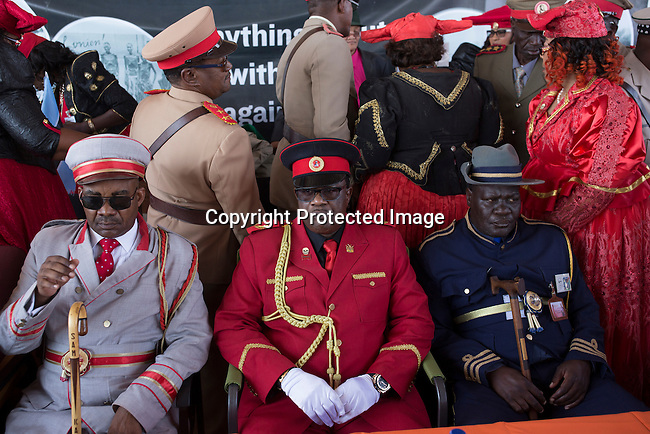 OTJIWARONGO, NAMBIA- AUGUST 12: Herero tribal leader Paramount chief (c) Vekuil Rukoro dressed in traditional clothing commemorating fallen chiefs killed in battles with Germans during a day long ceremony in Otjiwarongo, Namibia. (Photo by Per-Anders Pettersson)