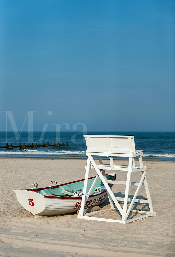 Lifegaurd stand and rescue boat on beach, Stone Harbor, New Jersey, USA