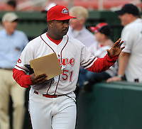 Manager Billy McMillon (51) of the Greenville Drive, Class A affiliate of the Boston Red Sox, in a game against the Delmarva Shorebirds on Opening Day, April 8, 2010, at Fluor Field at the West End in Greenville, S.C. He was named to the 2010 South Atlantic League All-Star team. Photo by: Tom Priddy/Four Seam Images