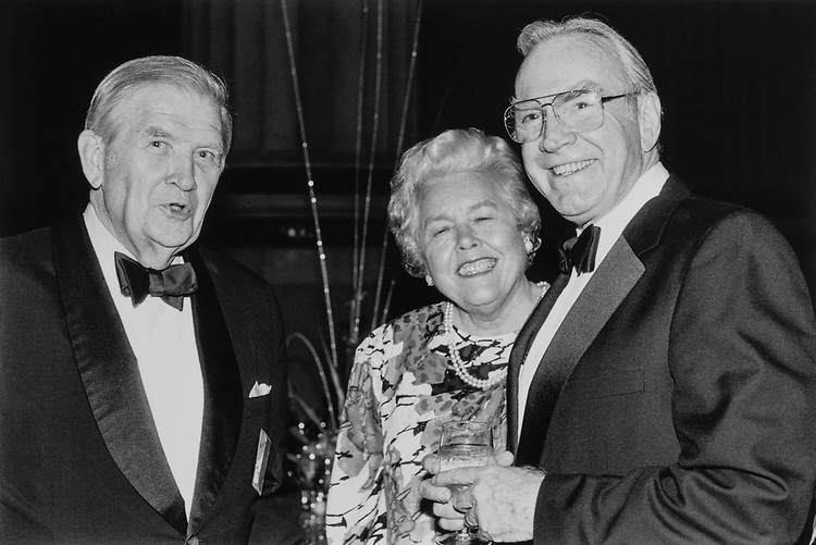 Sen. Terry Sanford, D-N.C., with his wife Margaret Rose Knight and Rep. Jim Wright, D-Tex., on May 11, 1989. (Photo by Laura Patterson/CQ Roll Call)