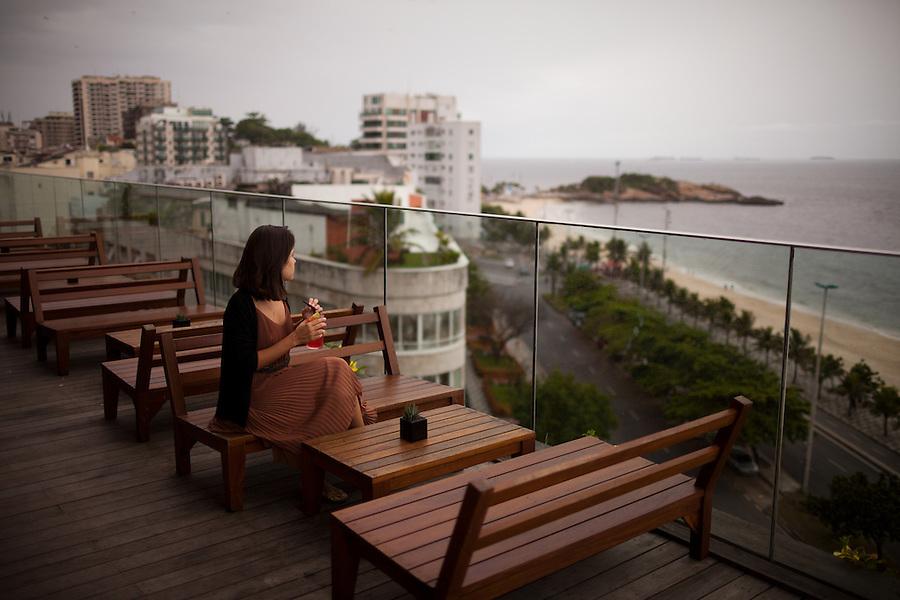 The rooftop pool at the Philipe Starck-designed Fasano hotel overlooks Ipanema Beach, in Rio de Janeiro, Brazil, on Monday, Feb. 4, 2013.